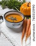 cream of carrot in bowl.... | Shutterstock . vector #760315990