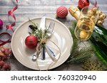 christmas meal table setting... | Shutterstock . vector #760320940