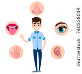 set of five human senses ... | Shutterstock .eps vector #760328014