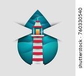 cartoon lighthouse in paper cut ... | Shutterstock .eps vector #760330540