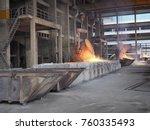 liquid ferro silicon in ladle... | Shutterstock . vector #760335493