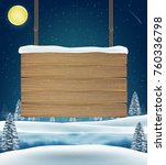 hang wood board sigh on... | Shutterstock .eps vector #760336798