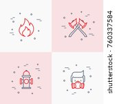 firefighter thin line icons set ... | Shutterstock .eps vector #760337584