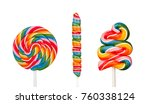 three lollipops with many... | Shutterstock . vector #760338124