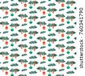 christmas tree branch vector... | Shutterstock .eps vector #760341790