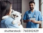 handsome doctor veterinarian at ... | Shutterstock . vector #760342429