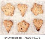 homemade cookies on the burlap. ... | Shutterstock . vector #760344178