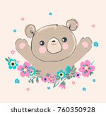 hand drawn cute teddy bear and... | Shutterstock .eps vector #760350928