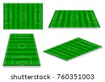 soccer field set. vector... | Shutterstock .eps vector #760351003