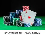 poker chips stack with two... | Shutterstock . vector #760353829