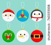 merry christmas ball toy...   Shutterstock .eps vector #760355008