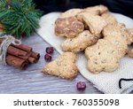 homemade cookies with nuts on... | Shutterstock . vector #760355098