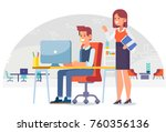 working in the office. lady... | Shutterstock .eps vector #760356136