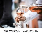 Stock photo wine bottle and wine glass rose 760359016