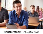 mature male student with... | Shutterstock . vector #760359760