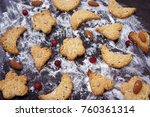 homemade cookies with nuts on a ... | Shutterstock . vector #760361314