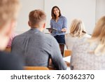 college tutor with digital... | Shutterstock . vector #760362370