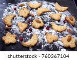 homemade cookies with nuts on a ... | Shutterstock . vector #760367104