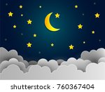 half moon and stars in midnight ... | Shutterstock .eps vector #760367404