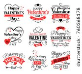 vintage valentines day vector... | Shutterstock .eps vector #760368178