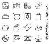 thin line icon set   shop  coin ... | Shutterstock .eps vector #760368628