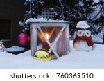 christmas lantern in snow with... | Shutterstock . vector #760369510