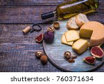 white wine in a bottle  glass... | Shutterstock . vector #760371634