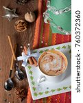 cup of coffee and christmas... | Shutterstock . vector #760372360
