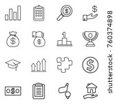 thin line icon set   graph ... | Shutterstock .eps vector #760374898