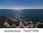 Small photo of Concrete tetrapod at the coastline