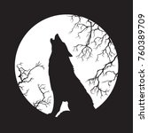 Silhouette Of Wolf Howling At...