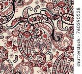 paisley folkloric flowers... | Shutterstock .eps vector #760390528