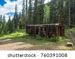old abandoned boxcar high in...   Shutterstock . vector #760391008