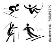 silhouette of snowboard ... | Shutterstock . vector #760395340