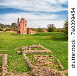 Small photo of Ruins of Circo di Massenzio tower riuns on Via Appia, or Appian Way, in Rome, Italy. Panoramic image.
