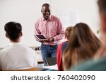 male college tutor with digital ...   Shutterstock . vector #760402090