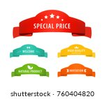 old vintage ribbon banners with ... | Shutterstock .eps vector #760404820