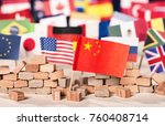 flag of china in front of flags ... | Shutterstock . vector #760408714