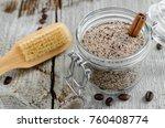 homemade scrub in a glass jar...   Shutterstock . vector #760408774