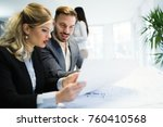 business colleagues at their... | Shutterstock . vector #760410568