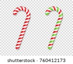 red and green candy canes with... | Shutterstock .eps vector #760412173