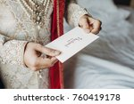 indian groom dressed in white... | Shutterstock . vector #760419178
