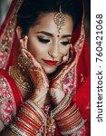 stunning indian bride dressed... | Shutterstock . vector #760421068
