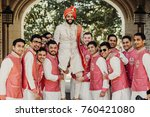 handsome indian groom in white... | Shutterstock . vector #760421080