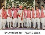 handsome indian groom in white...   Shutterstock . vector #760421086