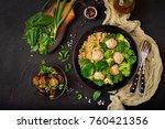 baked meatballs of chicken... | Shutterstock . vector #760421356