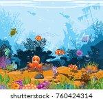 marine landscape   ocean and... | Shutterstock .eps vector #760424314