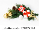 christmas composition with fir... | Shutterstock . vector #760427164