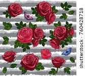 red roses embroidery elements ... | Shutterstock .eps vector #760428718