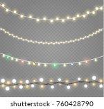 christmas lights isolated on... | Shutterstock .eps vector #760428790